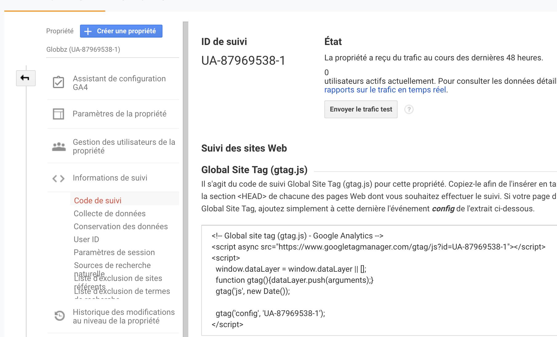 code suivi google analytics